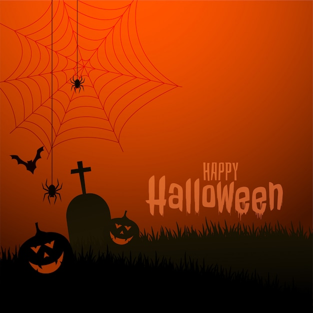Happy halloween scary theme festival illustration Free Vector