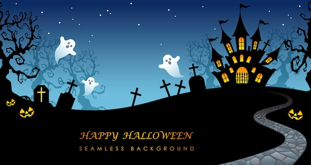 Happy halloween  seamless background illustration with haunted mansion, cemetery, and text space. Free Vector