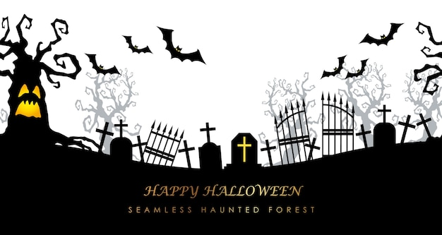Happy halloween seamless cemetery with text space Free Vector