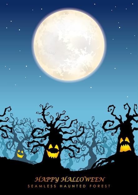 달과 함께 해피 할로윈 원활한 유령의 숲 프리미엄 벡터