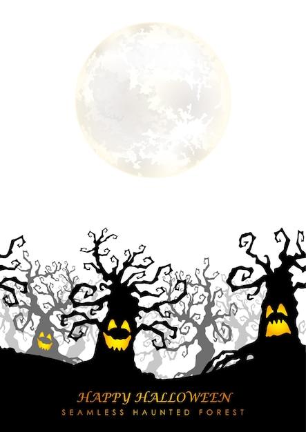 ハッピーハロウィンシームレスお化けの森と月 無料ベクター