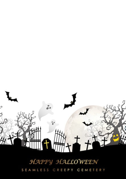 Happy halloween seamless illustration with the moon Free Vector