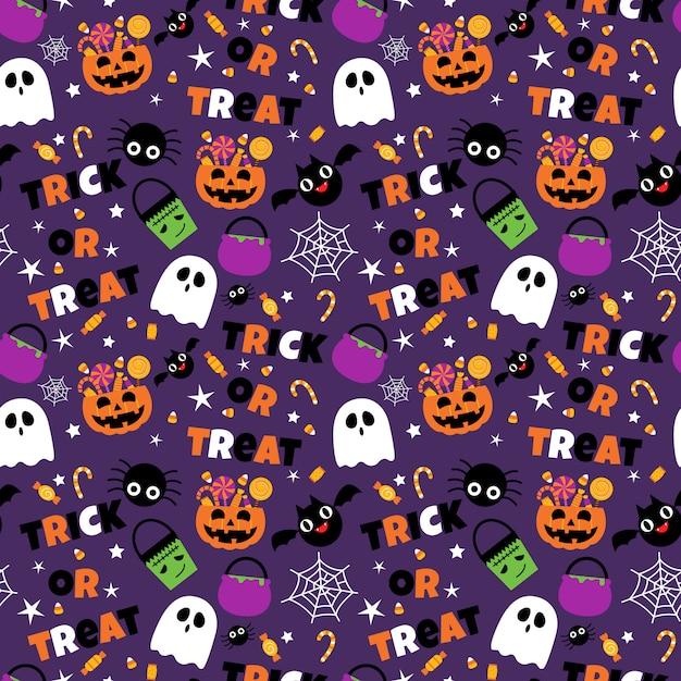 Halloween Pattern Wallpaper.Premium Vector Happy Halloween Seamless Pattern Background Set
