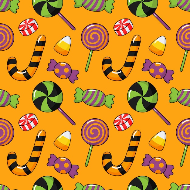 Happy halloween seamless pattern and cartoon candies isolated on orange Premium Vector