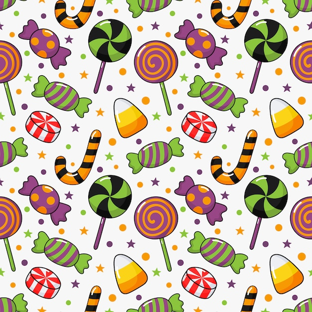 Happy halloween seamless pattern and cartoon candies isolated on white Premium Vector