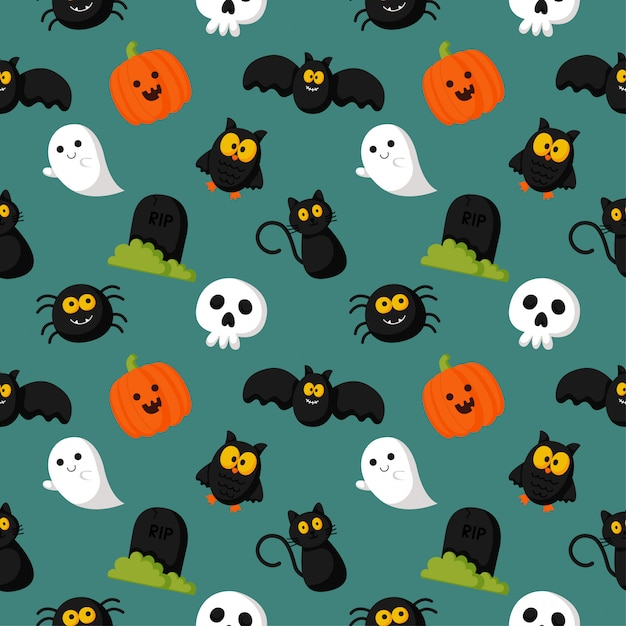 Happy halloween seamless pattern on green background. Premium Vector