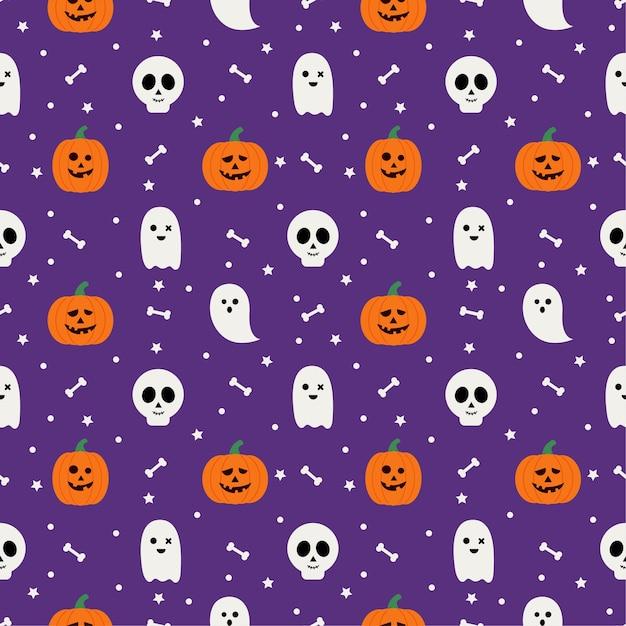 Счастливого хэллоуина бесшовные модели на фиолетовом фоне. Premium векторы