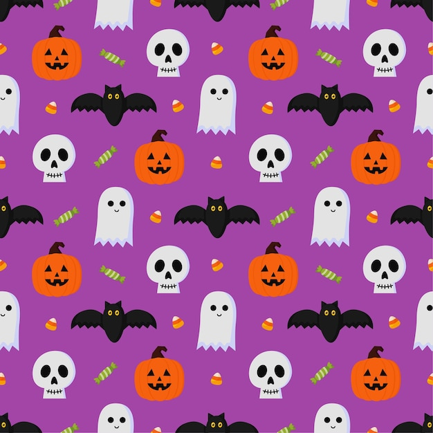 Happy halloween seamless pattern on purple background. Premium Vector