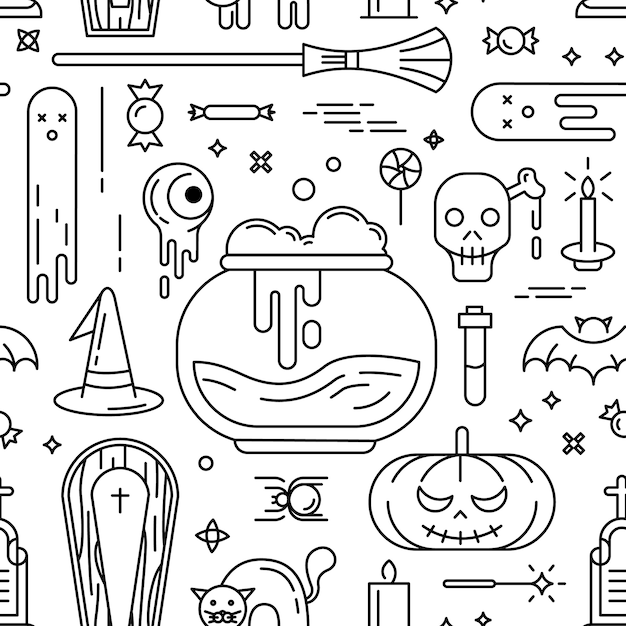 Happy halloween. seamless pattern with icons. Free Vector