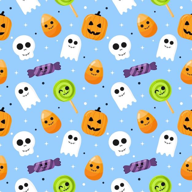 Happy halloween seamless pattern Premium Vector