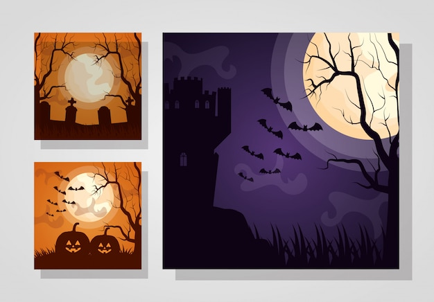 Happy halloween set dark cards Free Vector
