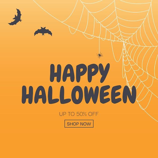Happy halloween, shop now poster template background. vector illustration Premium Vector