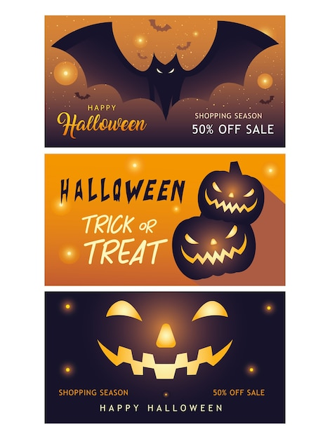 Happy halloween shopping season banners collection design off sale and ecommerce Premium Vector