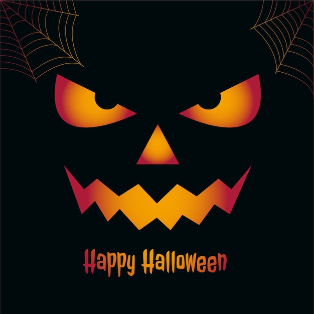 Happy halloween spooky card with scary face Free Vector
