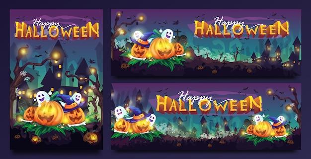 Счастливый хэллоуин жуткий мультфильм иллюстрация с шаблоном различного размера Premium векторы