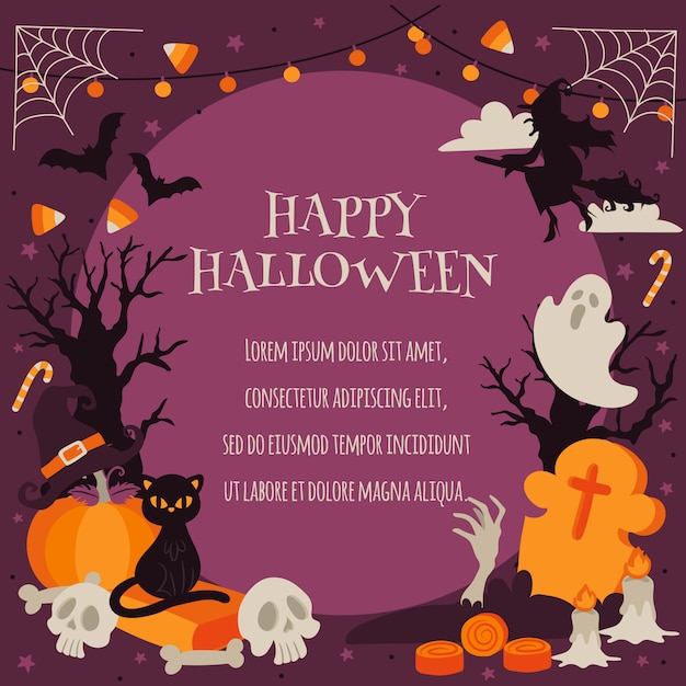 Happy halloween in spooky forest background template Premium Vector