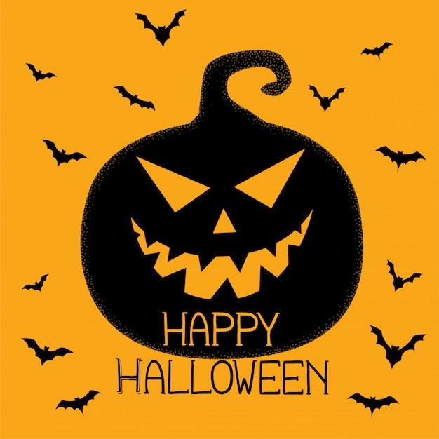 Happy halloween spooky pumpkin and bats background Free Vector