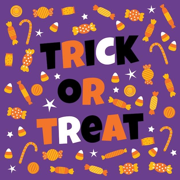 Happy halloween sweet candy Premium Vector