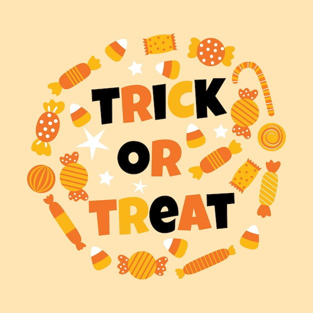 Happy halloween sweet candy Premium Vector