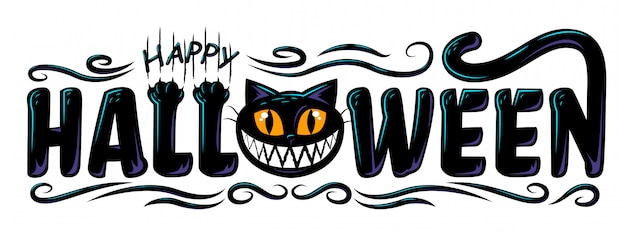 Happy halloween text banner design Premium Vector