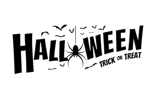 Счастливый хэллоуин текстовый баннер с пауками и летучими мышами Premium векторы
