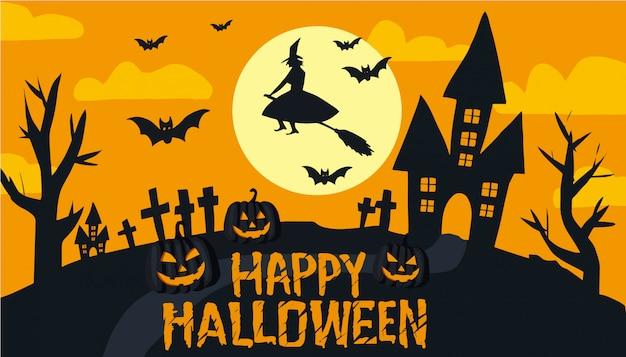 Happy halloween text banner Premium Vector