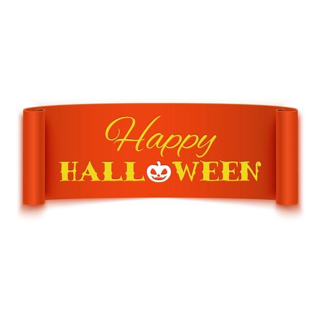 Happy halloween text on realistic orange ribbon banner Premium Vector