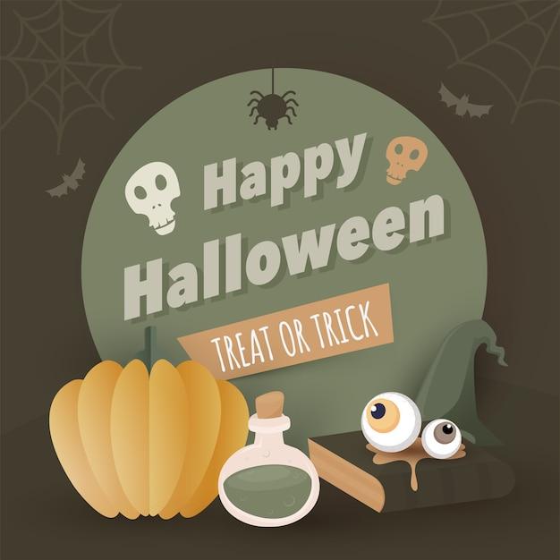 頭蓋骨、紙のカボチャ、ポーション、眼球、魔女の帽子、クモの巣、コウモリ、トリートオアトリックのためのオリーブグリーンの背景の本を含むハッピーハロウィンテキスト。 Premiumベクター