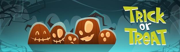Happy halloween trick or treat banner different pumpkins traditional decoration Premium Vector