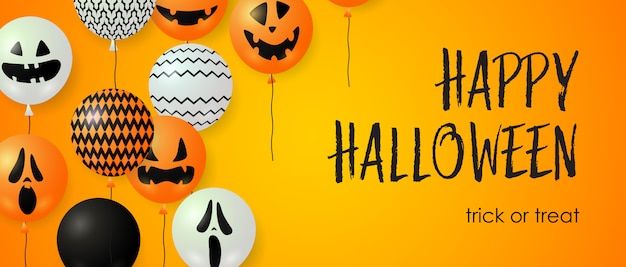 Happy halloween, trick or treat lettering and balloons Free Vector