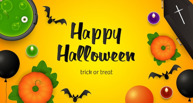 Happy halloween, trick or treat lettering, cauldron and bats Free Vector