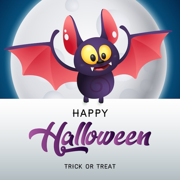 Happy halloween, trick or treat lettering with bat and moon Free Vector