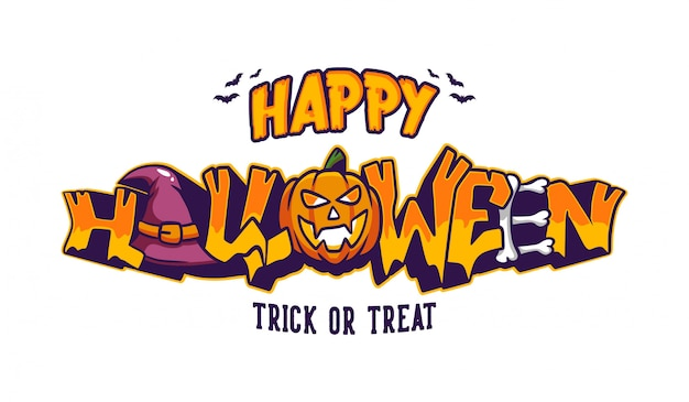 Happy halloween trick or treat lettering with graffiti style banner Premium Vector
