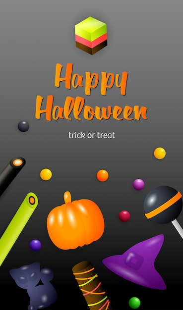 Happy halloween, trick or treat lettering with jelly sweets Free Vector
