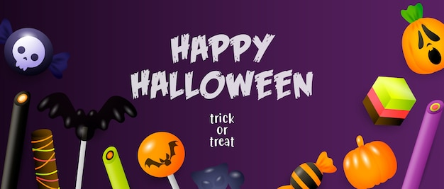 Happy halloween, trick or treat lettering with sweets Free Vector