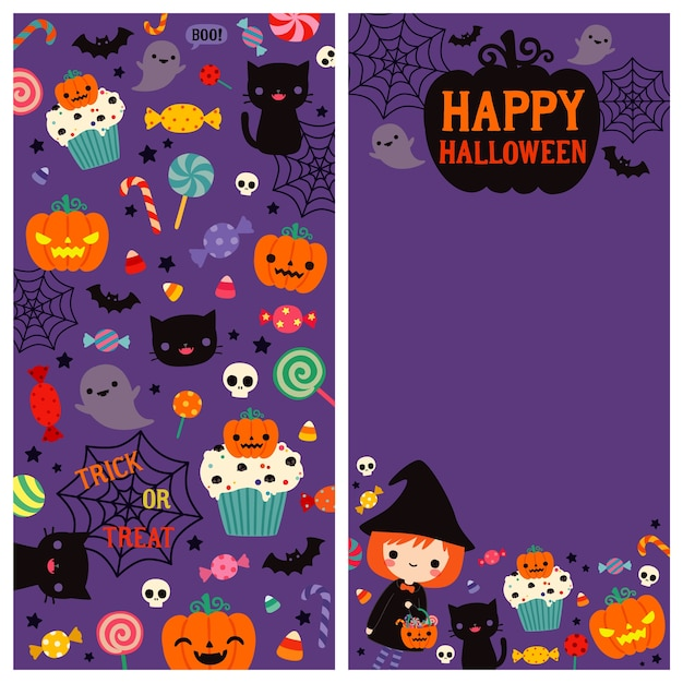Happy halloween two sides card Premium Vector