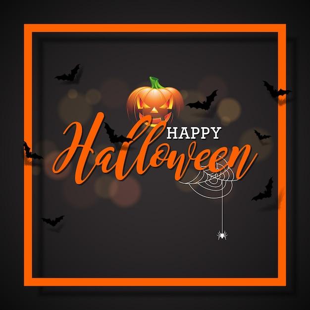 Happy halloween vector illustration with pumpkin on black happy halloween vector illustration with pumpkin on black background holiday design with spiders and bats stopboris Gallery