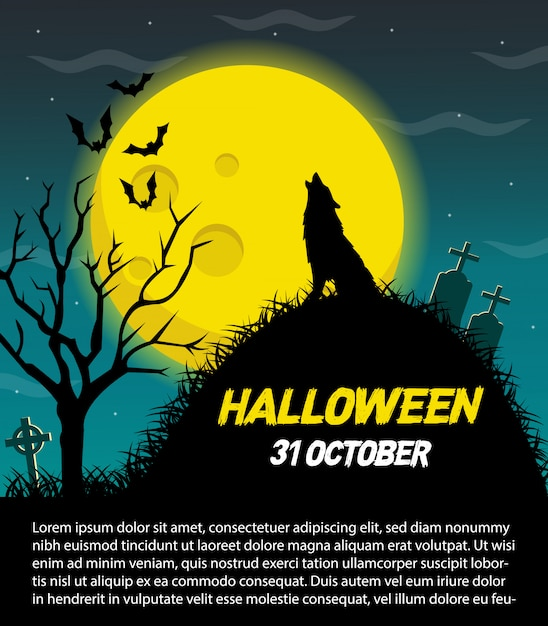 Happy halloween vector poster Premium Vector