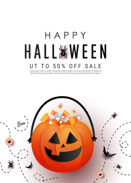 Happy halloween vertical promotion banner with candy pumpkin bag, color candy, bats, spider on white background. flat lay, copy space Premium Vector