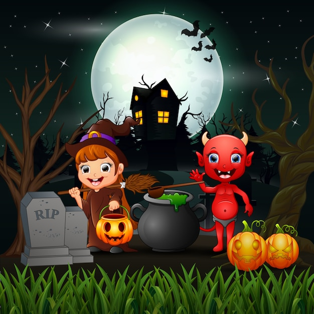 Happy halloween witch and red devil in the night Premium Vector