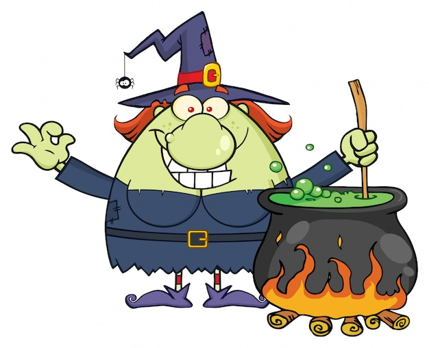 Happy halloween witch Premium Vector