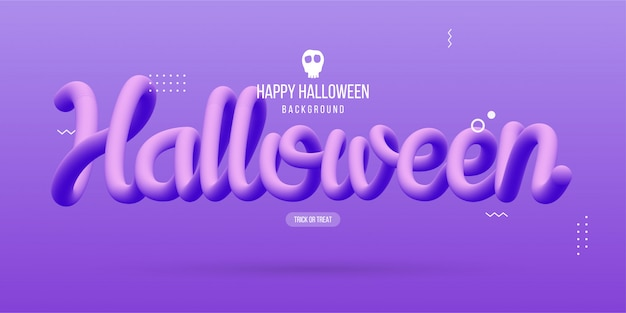 Happy halloween with 3d text flowing fluid Premium Vector