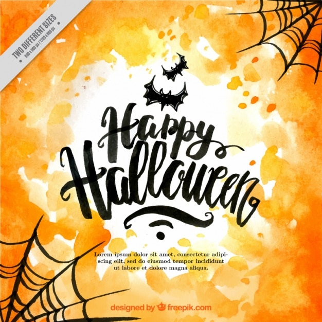 Happy halloween with bats and cobwebs Free Vector
