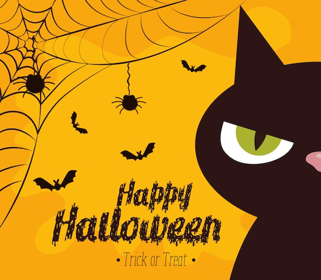Happy halloween  with black cat Free Vector