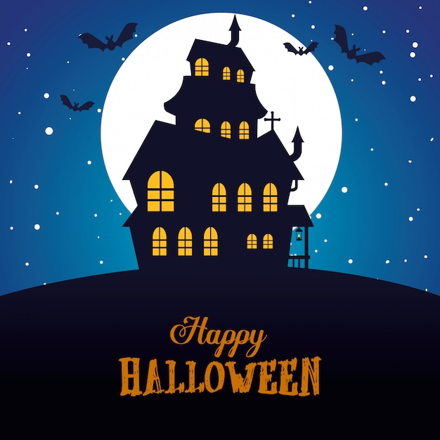 Happy halloween  with enchanted castle Free Vector