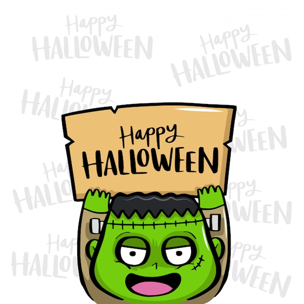 Happy halloween with frankenstein vector Premium Vector