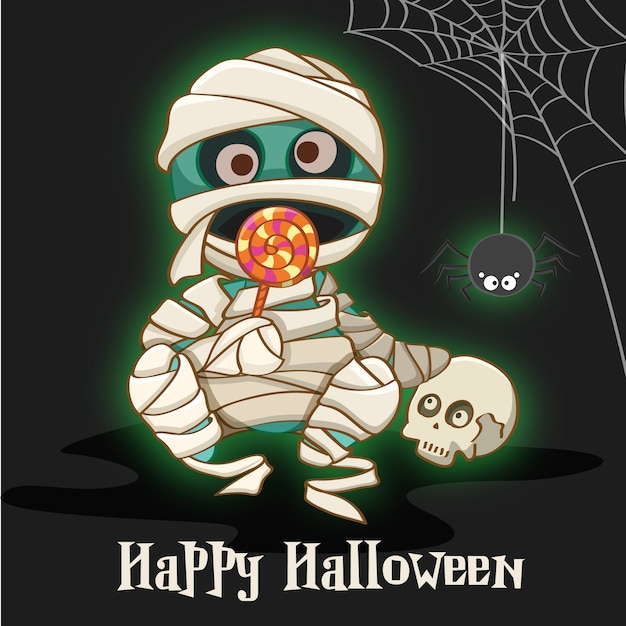 Happy halloween with mummy background Premium Vector