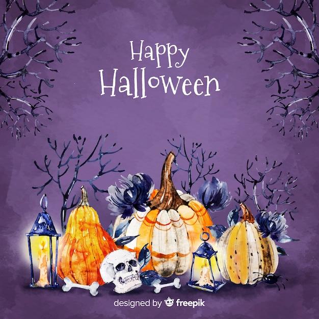 Happy halloween with pumpkins background Free Vector