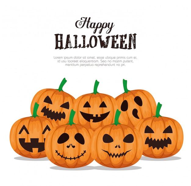 Happy halloween  with set pumpkins Free Vector