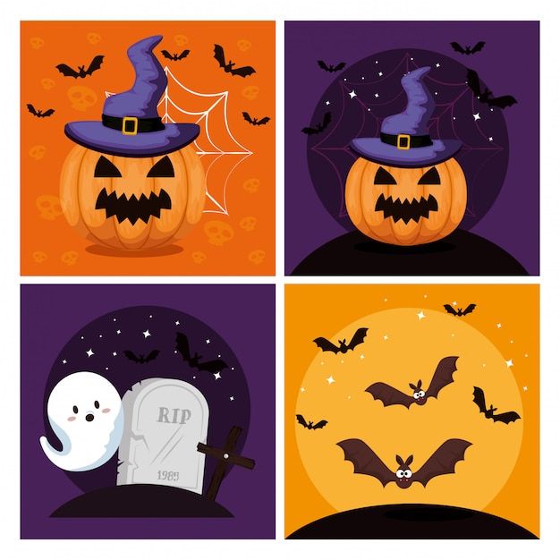 Happy halloween  with  set Free Vector
